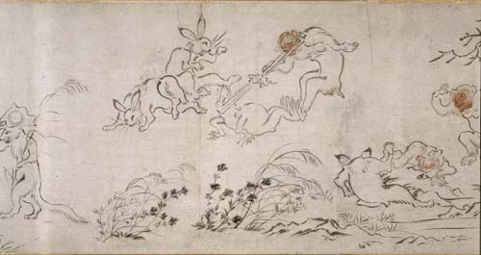 Copy of the Kozan-Ji Choju Giga  (Frolicking Animals Scroll) Detail
