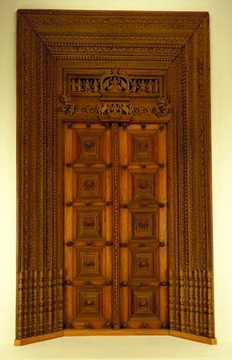 Carved Door with Images of Laksmi
