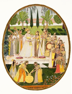 Prince Celebrating the Holi Festival with Palace Ladies