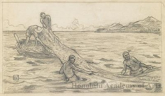 "Drawing related to the etching ""Hanalei Fishermen, Hawaii"""