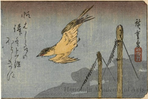 A Cuckoo Flying over Ships' Masts