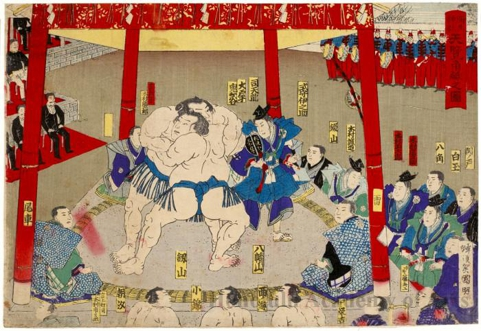 Sumö Match Held in the Presence of The Emperor and Empress at Yayoi Shrine